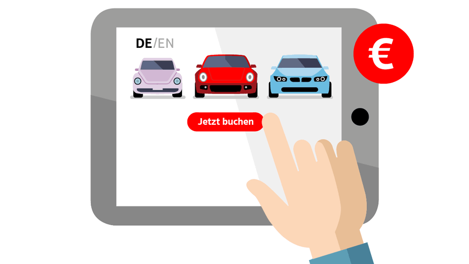 Illustration: Tablet mit Autos